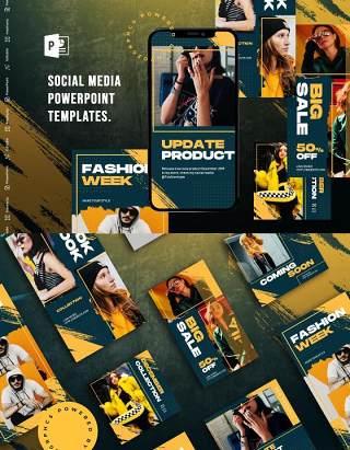 手机竖版社交媒体PPT模板Social Media PowerPoint Template