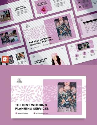 婚礼活动策划婚庆公司介绍宣传PPT模板不含照片Wedding Planner PowerPoint Presentation Template