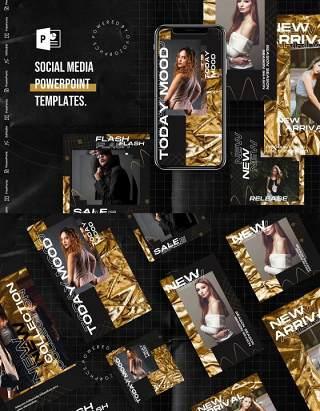 简洁手机竖版社交媒体杂志PPT版式模板Social Media PowerPoint Template