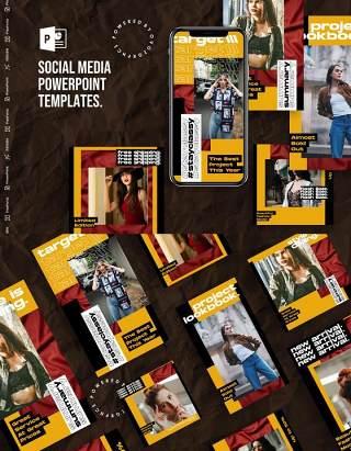 欧美黄色手机竖版社交媒体PPT模板Social Media PowerPoint Template