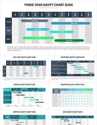 项目进度甘特图表格PPT信息图表素材Gantt Slides V3 Powerpoint Template
