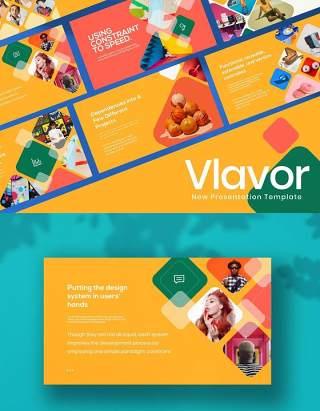 粉彩大色块创意公司产品宣传PPT演示模板不含照片Vlavor Pastel Creative Powerpoint