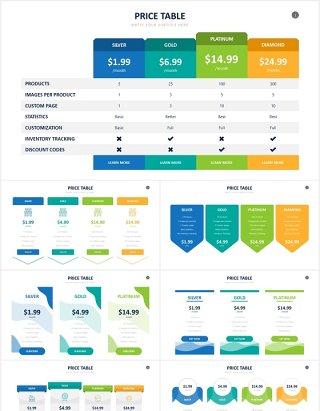 定价表价格服务列表清单信息图表PPT素材Pricing Table Powerpoint Slides