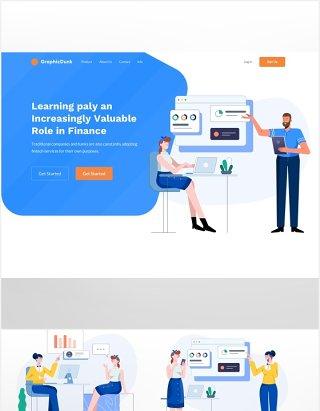 互联网金融科技概念场景人物插画移动电脑界面UI设计素材
