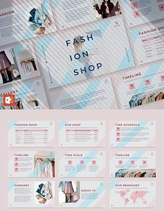 时尚商业报告项目计划PPT模板不含照片Fashion PowerPoint Presentation Template