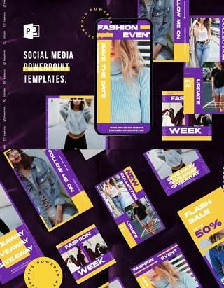 紫黄双色手机竖版社交媒体杂志PPT版式模板不含照片Social Media PowerPoint Template