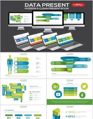 绿色大数据分析PPT信息图表模板Data Powerpoint Presentation