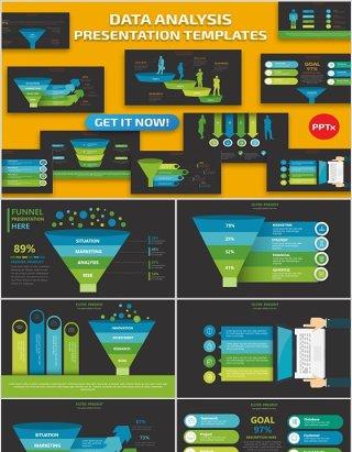 漏斗阶梯数据分析PPT信息图表Data Analysis Powerpoint
