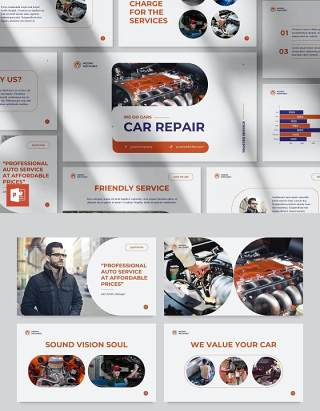 品牌汽车维修服务创意PPT模板不含照片Car Repair PowerPoint Presentation Template