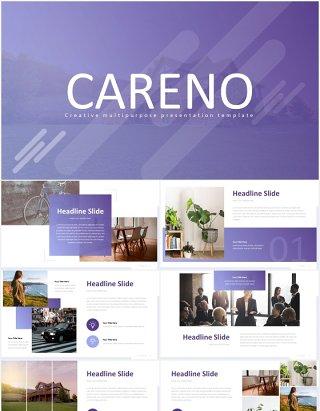 多套色系商务商业工作总结报告PPT国外模板careno powerpoint