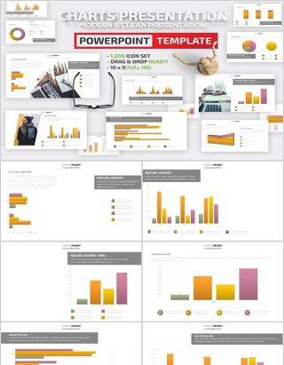 橙色柱状图表PPT信息可视化可插图片Charts Design Powerpoint