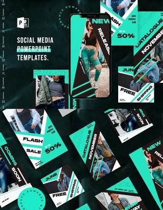 宝石蓝手机竖版社交媒体杂志PPT版式模板Social Media PowerPoint Template
