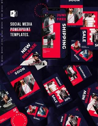 深色简洁手机竖版社交媒体杂志PPT版式模板Social Media PowerPoint Template