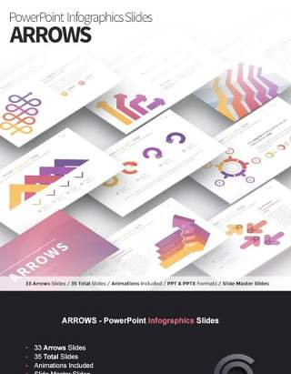 箭头PPT信息图表图形幻灯片演示ARROWS - PowerPoint Infographics Slides