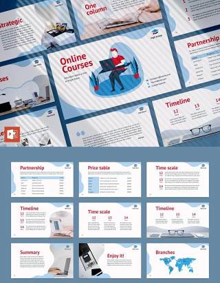 在线课程线上教育网课宣传介绍PPT模板不含照片Online Courses PowerPoint Presentation Template
