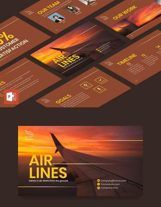 航空公司宣传介绍PPT模板不含照片Airlines Aviation PowerPoint Presentation Template