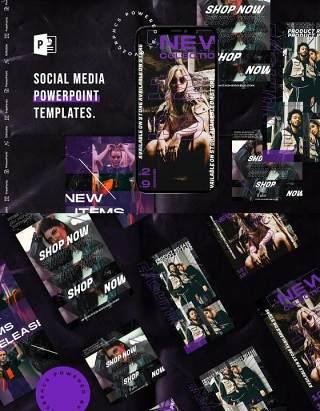 深色手机竖版社交媒体杂志PPT版式模板不含照片Social Media PowerPoint Template