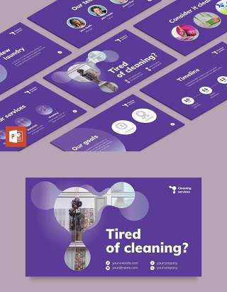 紫色清洁服务保洁家政公司宣传介绍PPT模板不含照片Cleaning Service PowerPoint Presentation Template