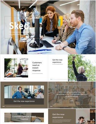 数字代理公司宣传介绍PPT模板sked elegant digital agency powerpoint template