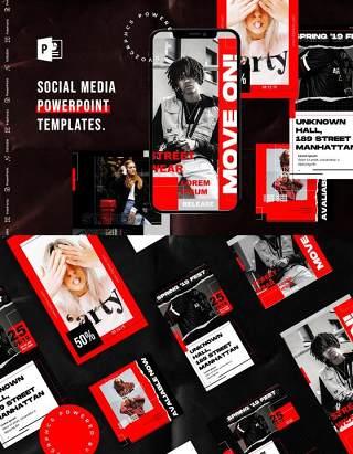 简约红色手机竖版社交媒体杂志PPT版式模板不含照片Social Media PowerPoint Template