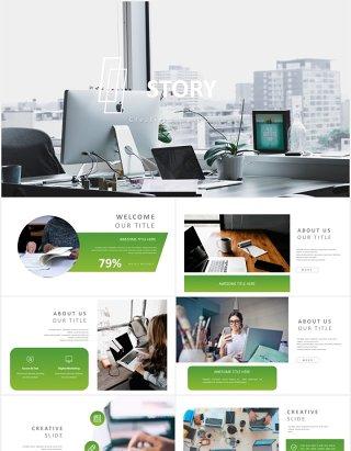 绿色简约工作计划述职报告PPT模板story powerpoint template