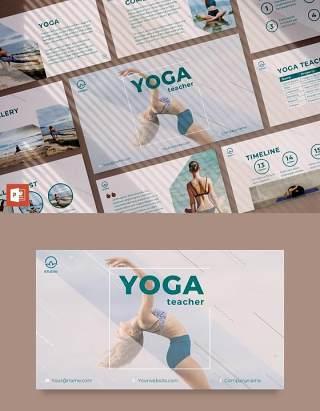 瑜伽健身运动教练培训讲师PPT模板不含照片Yoga Instructor PowerPoint Presentation Template