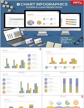 立体柱状图饼图PPT信息图表元素Chart Infographics Powerpoint