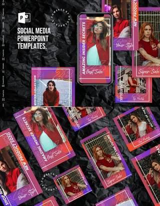 炫彩紫色手机竖版社交媒体PPT模板Social Media PowerPoint Template