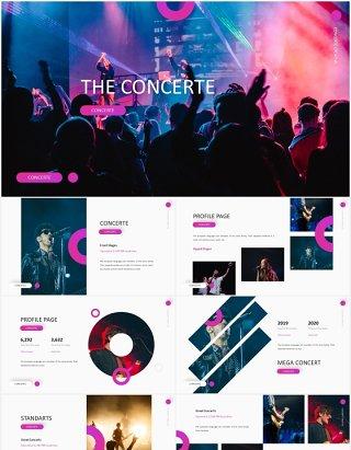 时尚娱乐音乐演唱会乐队宣传PPT模板The Concerte - Powerpoint Template
