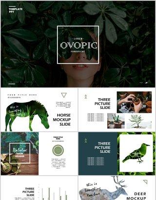 创意绿色绿植环保生态环境PPT模板
