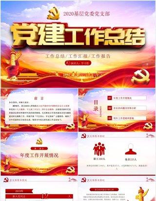 2020立体字基层党委党支部党建工作总结PPT模板