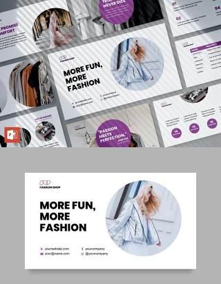 时尚购物店商业分析报告PPT模板不含照片Fashion Shop PowerPoint Presentation Template