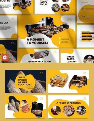 黄色烘焙咖啡厅面包店商业宣传介绍PPT模板不含照片Bakery Cafe PowerPoint Presentation Template