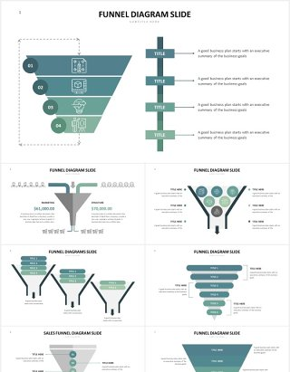 销售漏斗图数据分析PPT图表素材Funnel Slides V3 Powerpoint Template
