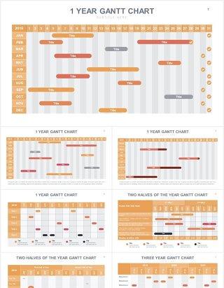 项目进度甘特图表格PPT信息图表素材Gantt Slides V2 Powerpoint Template
