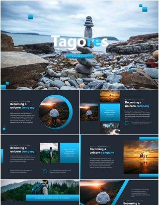 国外户外旅游宣传PPT模板Tagores Powerpoint