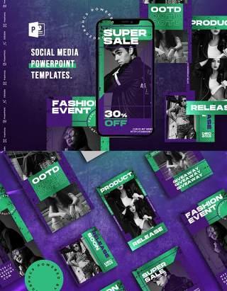 绿色时尚手机竖版社交媒体PPT模板Social Media PowerPoint Template