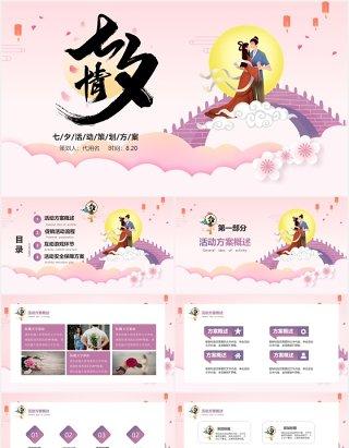 粉色浪漫中国风七夕情人节活动策划方案PPT模板