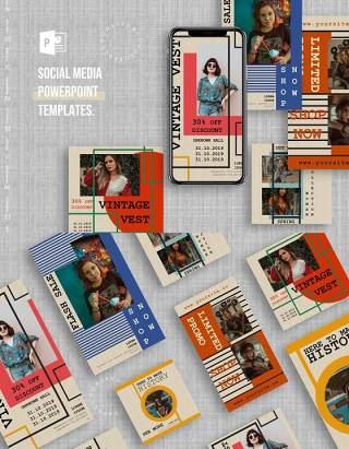 简约时尚手机竖版社交媒体PPT模板Social Media PowerPoint Template