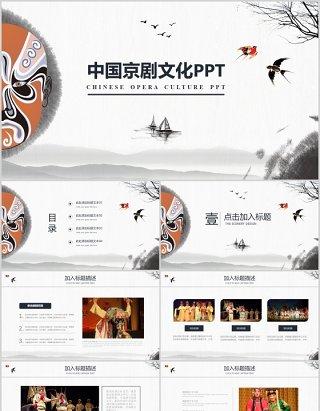 中国风脸谱文化艺术京剧戏曲演绎宣传PPT模板