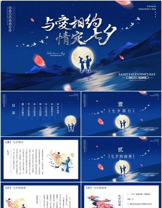 经典蓝色中国传统节日七夕节日介绍动态PPT模板