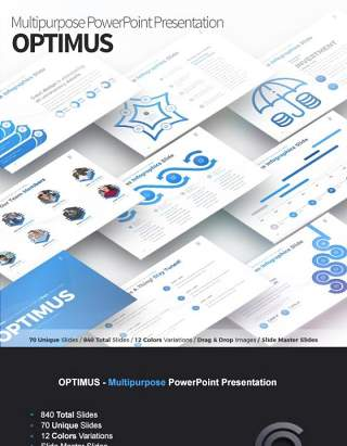 12套色系多用途PPT信息图表幻灯片Optimus - Multipurpose PowerPoint Presentation