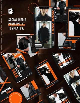黑色手机竖版社交媒体杂志PPT版式模板Social Media PowerPoint Template
