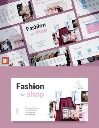 时尚品牌时装屋市场分析报告PPT模板不含照片Fashion House PowerPoint Presentation Template