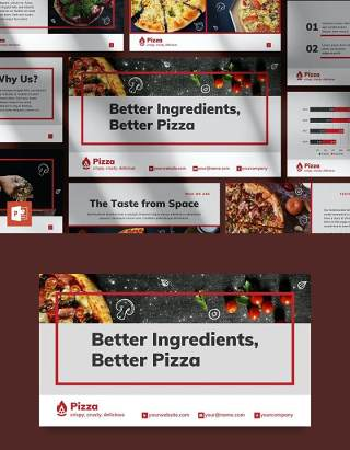 披萨餐厅餐饮美食商业报告PPT模板不含照片Pizza Restaurant PowerPoint Presentation Template