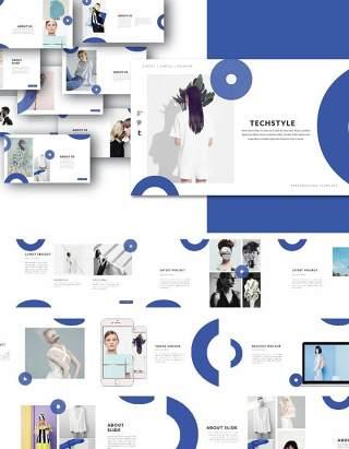 蓝色时尚造型师PPT模板版式设计MNML - Stylist Powerpoint