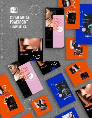 蓝红色手机竖版社交媒体PPT模板Social Media PowerPoint Template
