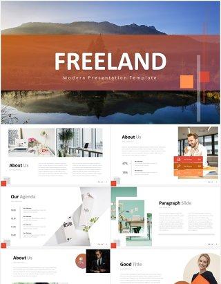 红色简约国外PPT图片排版图表模板freeland powerpoint template