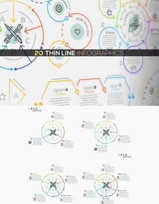 20组细线循环关系流程图箭头连接可视化信息图表AI矢量素材