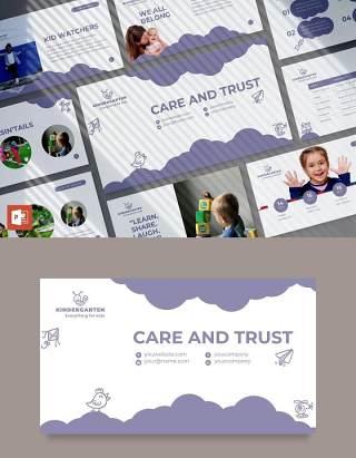 创意早教育儿幼儿园课件PPT模板不含照片Kindergarten PowerPoint Presentation Template